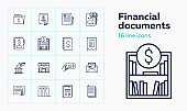 Financial documents line icon set. Account book, check, bank