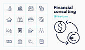 Financial consulting line icon set
