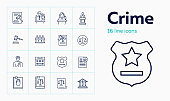 Crime line icon set. Witness, jury box