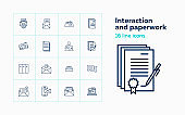 Interaction and paperwork line icon set