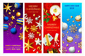 Christmas and New Year postcard set with champagne