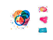 Bright multicolored liquid shapes set