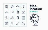 Map location line icon set
