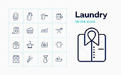 Laundry line icon set. Detergent, drying