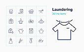 Laundering line icon set. Washing machine, hand wash