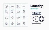 Laundry line icon set. Powder, basin, soap