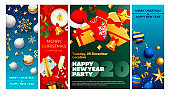 Happy New Year party green festive poster with gift