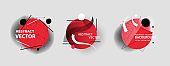 Round red abstract design elements set