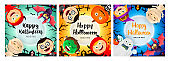 Halloween party banner set with various monsters
