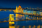 Iluminated Chain bridge and Parliament building at twilight, Budapest, Hungary