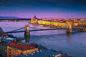 Stunning Chain bridge and Parliament building at sunset, Budapest, Hungary