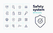 Safety system line icon set. Computer, data storage