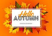 Hello autumn seasonal poster design with text sample