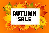 Autumn sale orange flyer design with heap of leaves