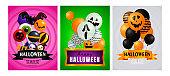 Halloween sale pink, green, gray banner set