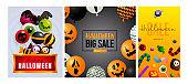 Halloween big sale gray, orange banner collection