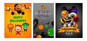 Happy Halloween orange, black banner set devil, Frankenstein
