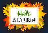 Hello autumn dark blue poster design with text sample
