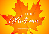 Hello autumn bright poster design with text sample