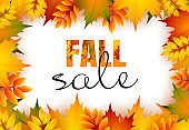 Fall sale retail banner design with yellow and red leaves