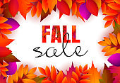 Fall sale retail banner design with red and purple leaves