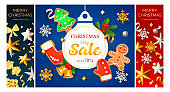 Merry Christmas blue, red banner set with gingerbread