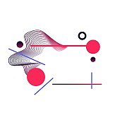Futuristic abstract element with pink lines and circles