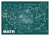 Chalk doodle math blackboard