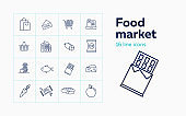 Food market line icon set