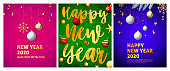 Happy New Year pink, green, blue banner set with balls
