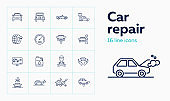 Car repair icon set