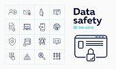 Data safety line icon set. Spider, fingerprint
