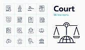 Court line icon set. Judge, courthouse