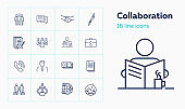 Collaboration line icon set