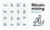 Bitcoin mining icon set