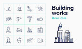 Building works line icon set. Engineer, excavator, drill