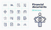 Financial documents line icon set. Paper, certificate, loan