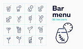 Bar menu line icon set. Mojito, lemonade
