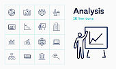 Analysis line icon set