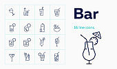 Bar line icon set. Takeaway cup, bottle, flute