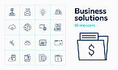 Business solutions line icon set