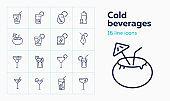 Cold beverages line icon set. Cuba Libre, lemonade, ice tea