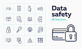 Data safety line icon set. Admin, computer