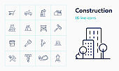 Construction site line icon set. Cart, crane, saw
