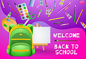 Welcome back to school poster design. Artist paints
