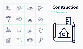 Construction site line icon set. Architect, blueprint