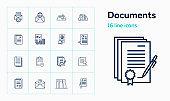 Documents line icon set