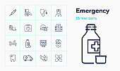 Emergency line icon set. Syringe, helicopter