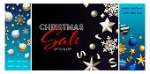 Christmas sale blue, black banner set with baubles
