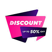 Discount bright banner design with up to 50 percent off